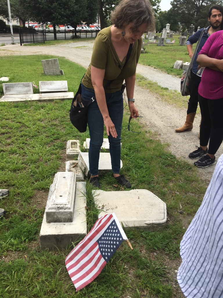 Anne Tait explaining the stories behind Trinity Cemetery grave sites, photo by Margie Butler