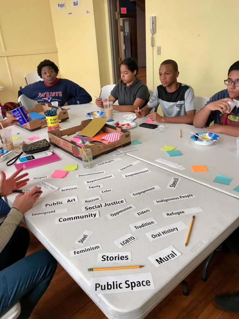 Brainstorming in project room at Southside Cultural Center, July 2017, photo by Anna Snyder