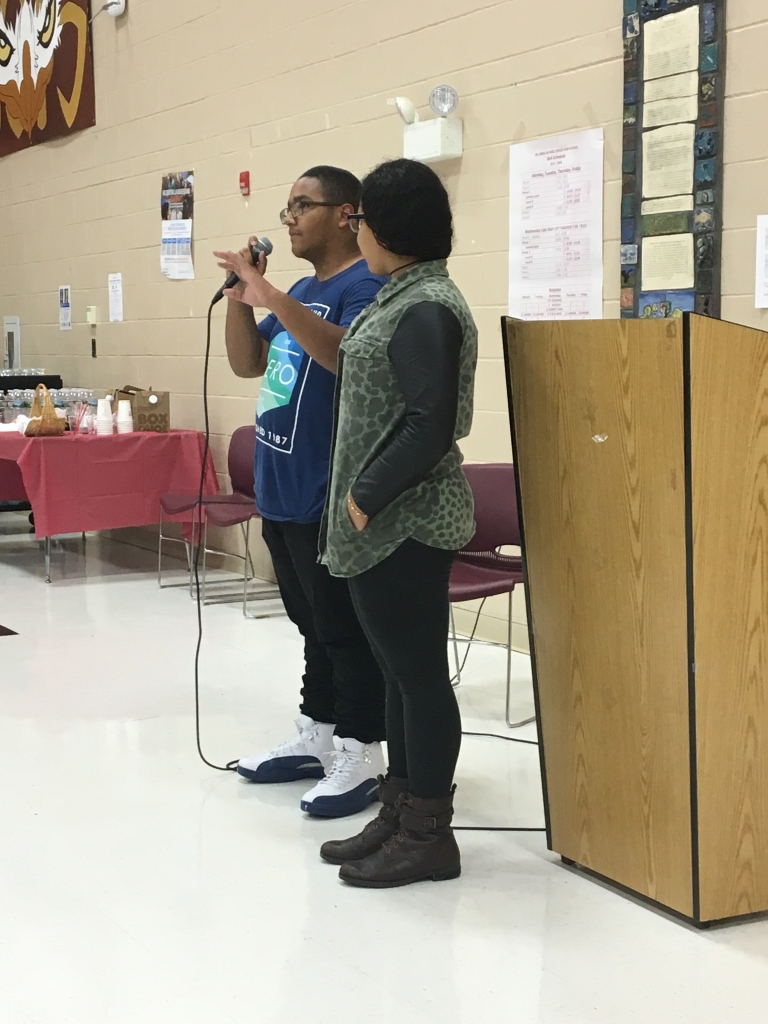 Albert and Oscarina presenting at Open House Night Alvarez High School. Photo by Margie Butler