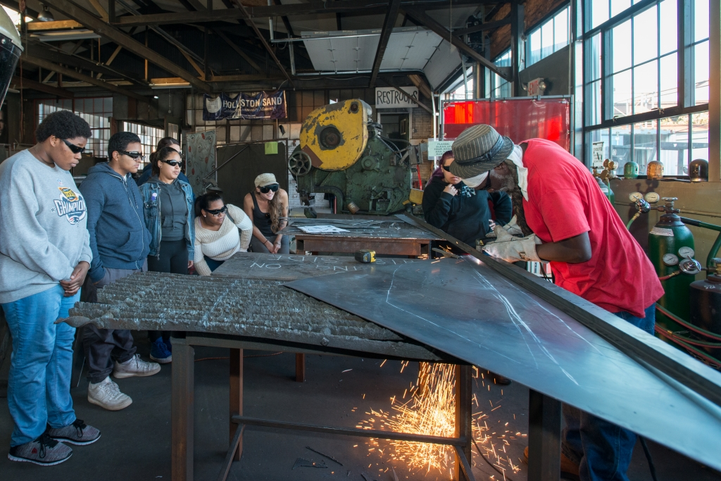 Steel Yard demonstration of cutting abstract steel shapes for the public art piece