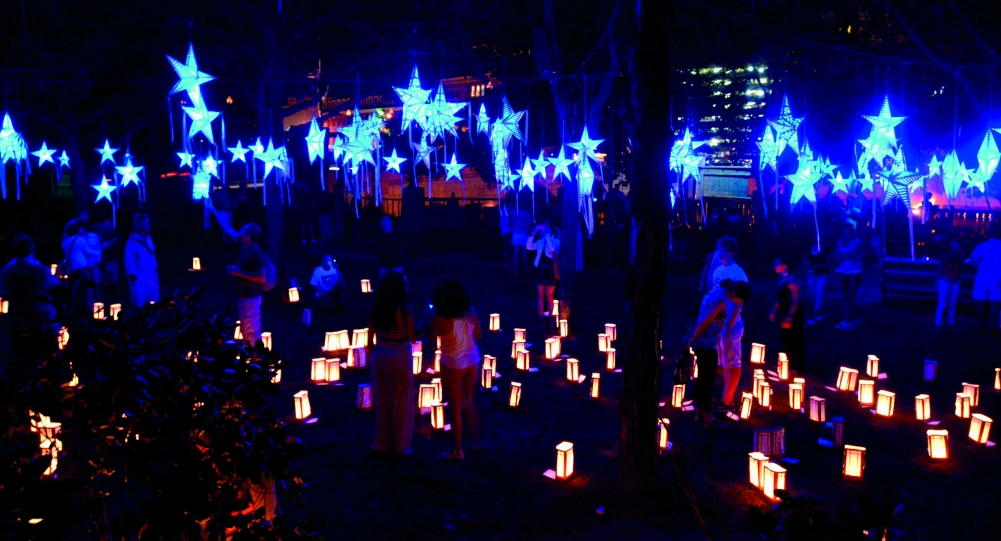 Starry, Starry Night Installation in Memorial Park at WaterFire Providence (Photo by John Nickerson)