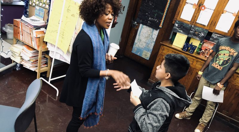 Alfre Woodard & Roderick Spencer Visit Gilbert Stuart Middle School