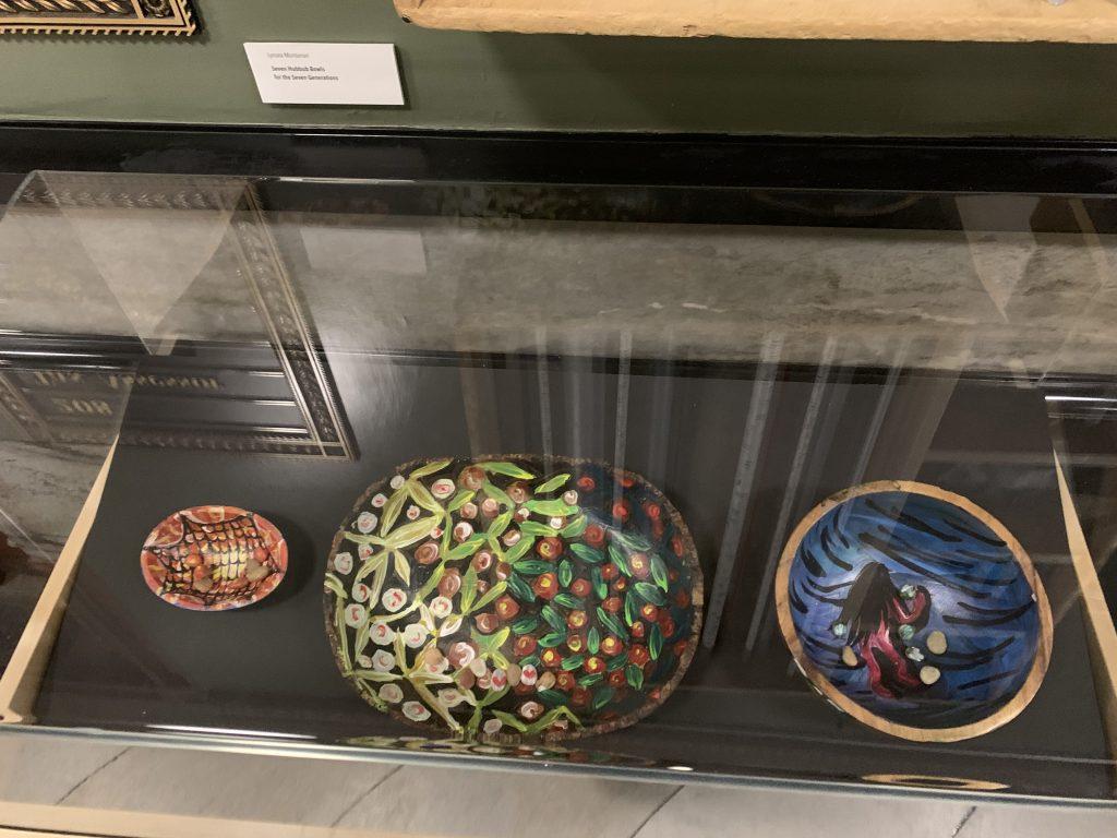 """Lynsea Montanari - """"Seven hubbub bowls for the seven generations"""" (L:R - Mashisha hubbub bowl, Mishanogqus hubbub bowl, Yoyatche hubbub bowl)"""