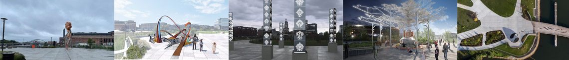 mock ups of entries to Be a part of Providence's Landmark Public Art Installation